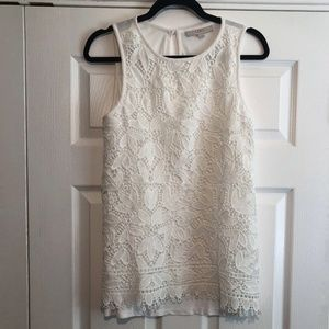 [LOFT] Sleeveless Lace-front Blouse